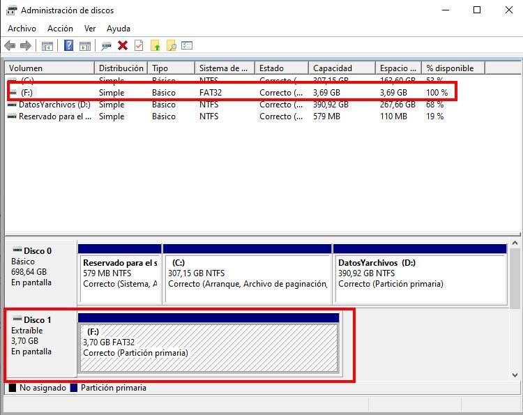 Administrador de discos en Windows 10 para hacer particiones en una memoria USB