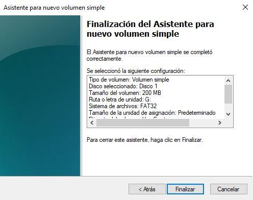 """Fin del asistente en """"Hacer particiones en una memoria USB"""""""