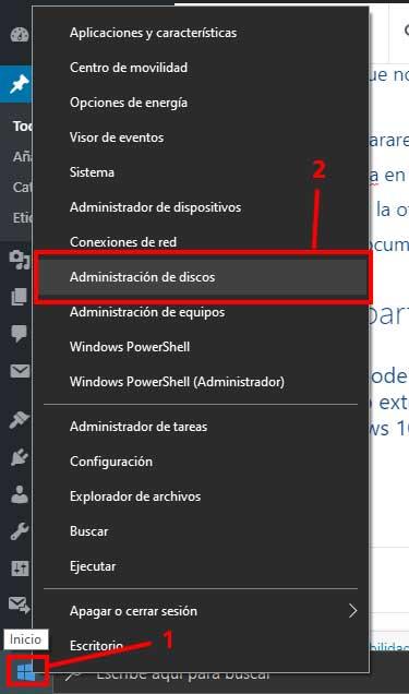 """Menú contextual de inicio de Windows 10 en la entrada """"Hacer particiones en una memoria USB"""""""