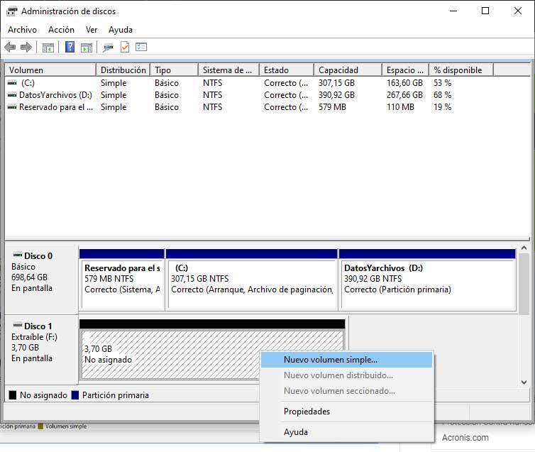 Nuevo volumen simple en el administrador de discos de W10