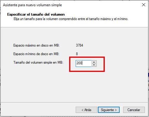 """Tamaño de nueva partición en la entrada de """"Hacer particiones en una memoria USB"""""""
