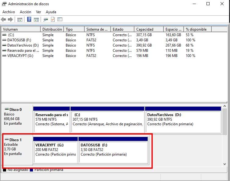 """Memoria USB particionada en """"Hacer particiones en una memoria USB"""""""