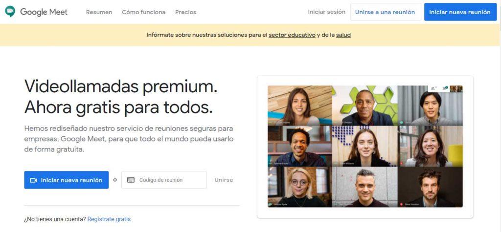 Videollamadas gratis con Google Meet.