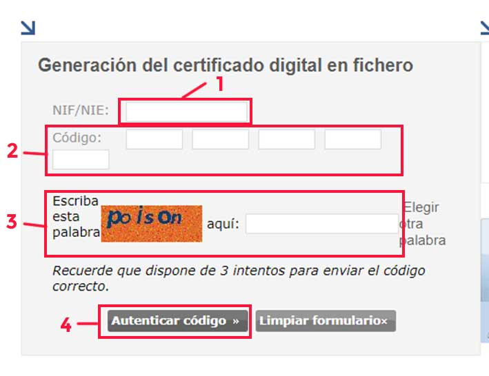 Página web para generar el fichero de certificado digital para firmar y cifrar correos electrónicos