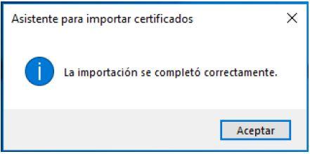 Pulsar en el botón de Aceptar para tener vuestro certificado instalado