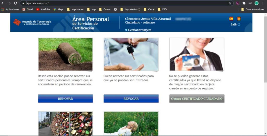 Página principal del Area personal de servicios de certificación.