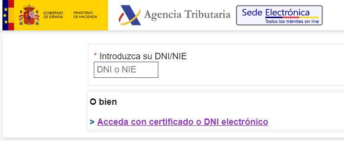 Acceder a la agencia tributaria con certificado.