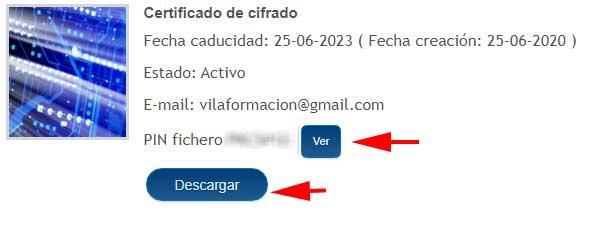 Seleccionar certificado activo para descargar