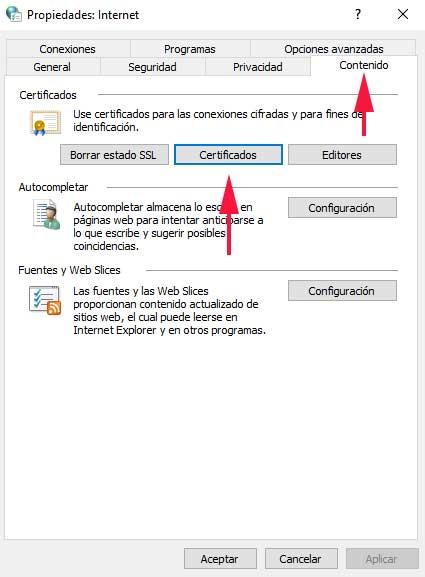 Opciones de internet para eliminar certificado del navegador