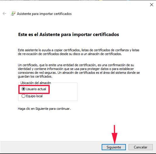 Asistente de windows 10 para importar certificados en el navegador Chrome y Edge