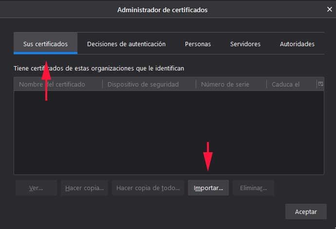 Almacen de certificados en Firefox