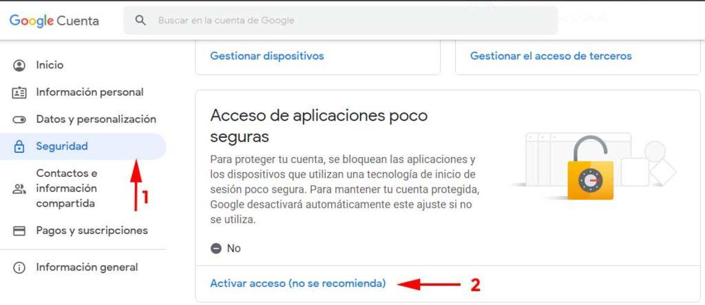 Acceso aplicaciones poco seguras para permitir Outlook en Gmail en  Como firmar y cifrar correos con un certificado digital en Windows