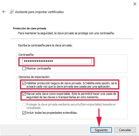 Opciones de importación enComo instalar un certificado digital en el navegador en sistemas Windows. En el curso de seguridad en el correo electrónico