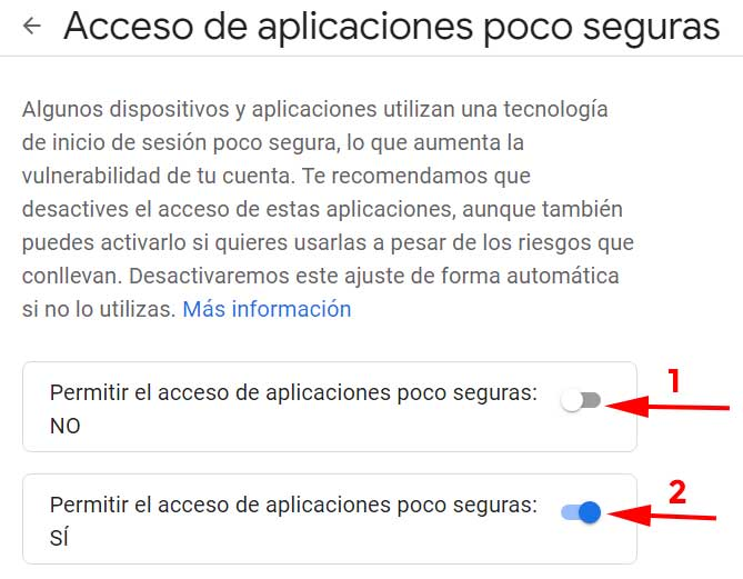 Dar permiso para permitir o no, aplicaciones poco seguras en Gmail dentro del curso de seguridad en el correo electrónico impartido por: FormCiberSeg - Formación y Ciberseguridad