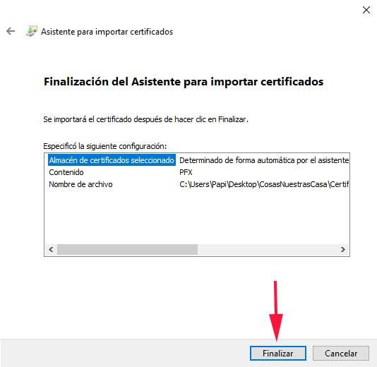 Finalización del asistente Como instalar un certificado digital en el navegador en sistemas Windows.para importar certificados en