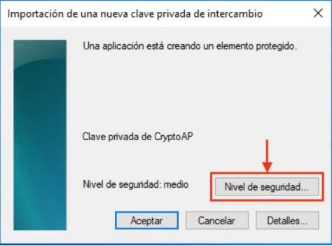 Poner contraseña opcional al certificado en Windows 10