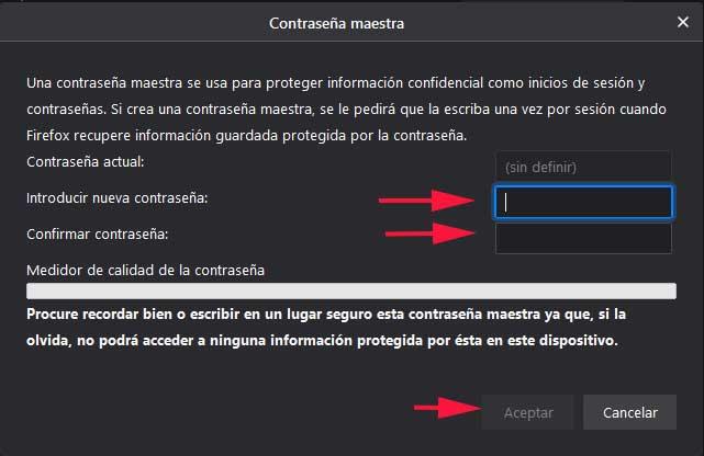 Poner contraseña maestra en Firefox en FormCiberSeg - Formación y Ciberseguridad