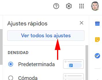 Ver todos los ajustes para ir a aplicaciones poco seguras en Gmail