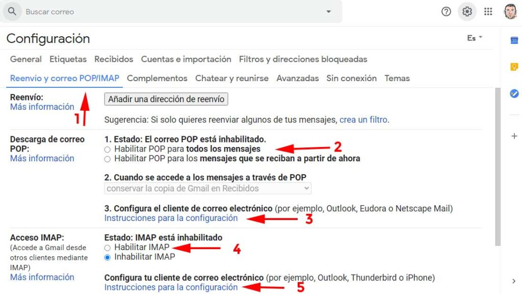 Habilitar POP e IMAP en Gmail para sincronizar Outlook