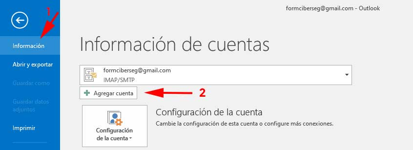Abrir Outlook para firmar y cifrar correos con outlook en Windows