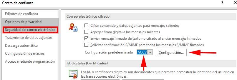 Apartado de Seguridad en el correo electrónico de Outlook