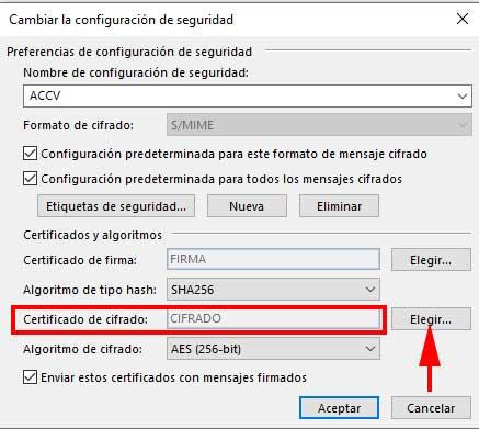 Elegir certificado de cifrado en Outlook