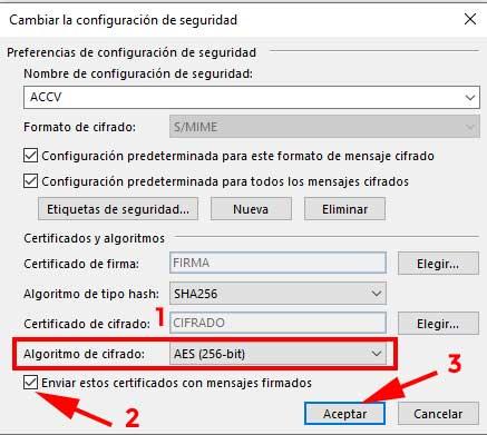 Algoritmo de cifrado para elegir un certificado digital en Outlook.