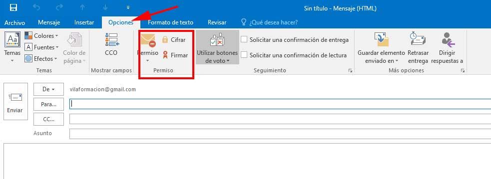 Opciones de firma y cifrado en un envío de correo en Outlook