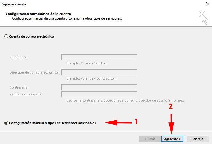 Agregar cuenta manual en Outlook