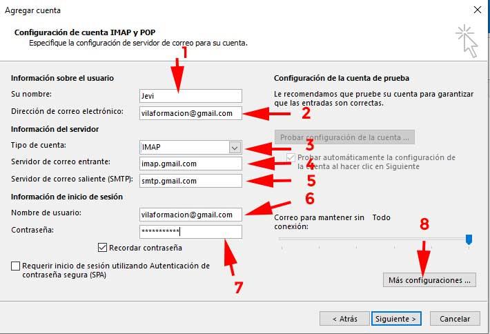 Configurar Pop o Imap en Outlook