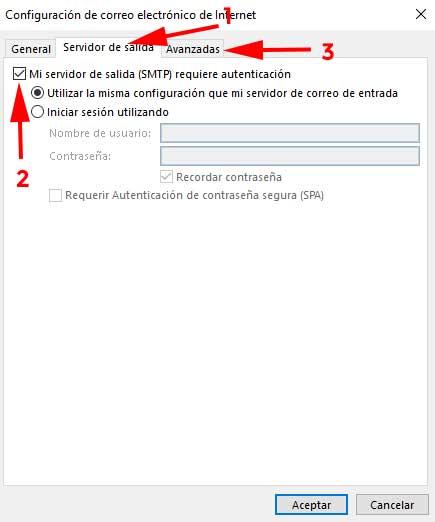 Configuracion correo pestaña servidor de salida