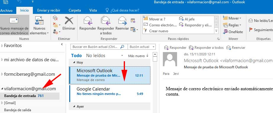 Cuenta de Gmail Añadida a Outlook en FormCiberSeg - Formación y Ciberseguridad.